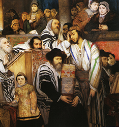 Maurycy Gottlieb.  Jews Praying in the Synagogue on Yom Kippur, 1878